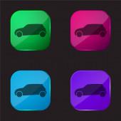 Black Car Side Zobrazit čtyři barvy skla ikona tlačítka