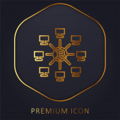 Bitcoins goldene Linie Premium-Logo oder Symbol