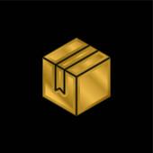 Doboz aranyozott fém ikon vagy logó vektor
