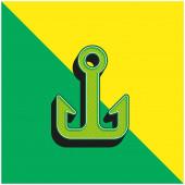 Anker Grünes und gelbes modernes 3D-Vektor-Symbol-Logo