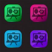 Bitcoin-Präsentation vier farbige Glasknopf-Symbol