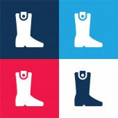 Csizma kék és piros négy szín minimális ikon készlet