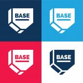 Základní modrá a červená čtyři barvy minimální ikona nastavena