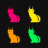 Černá zlá kočka čtyři barvy zářící neonový vektor ikona