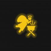 Andělská žlutá zářící ikona