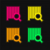 Bars Code Search four color glowing neon vector icon