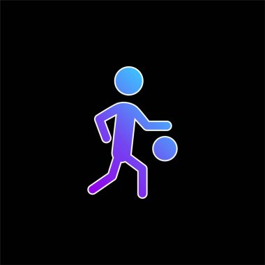 Basketball Player Silhouette With The Ball blue gradient vector icon stock vector
