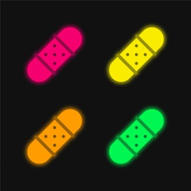 Bandage four color glowing neon vector icon stock vector