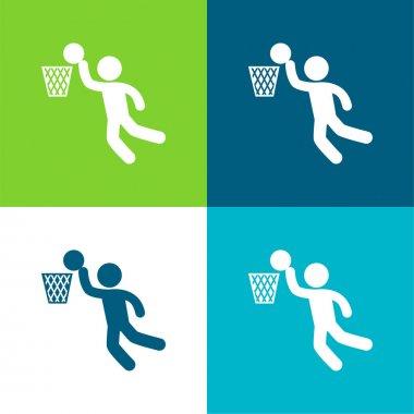 Basketball Player Scoring Flat four color minimal icon set stock vector