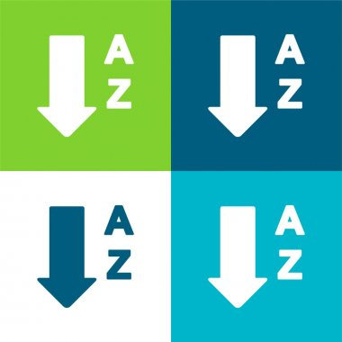 Alphabetical Order From A To Z Flat four color minimal icon set