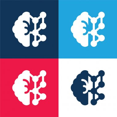 AI blue and red four color minimal icon set stock vector