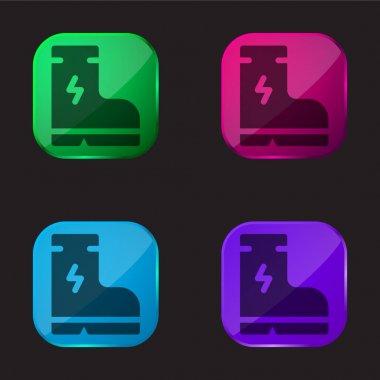 Boot four color glass button icon stock vector