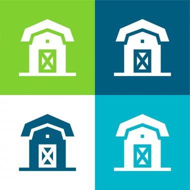 Barn Flat four color minimal icon set stock vector