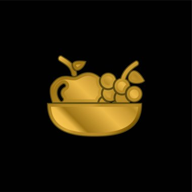 Apple And Grapes On A Bowl gold plated metalic icon or logo vector stock vector