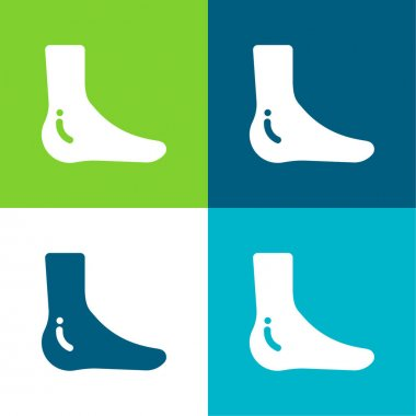 Ankle Flat four color minimal icon set stock vector