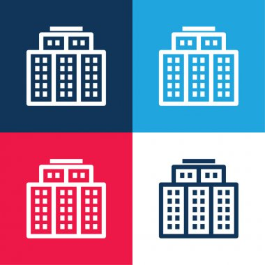 Big Hotel blue and red four color minimal icon set stock vector