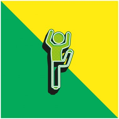 Boy With Bended Leg And Arms Up Green and yellow modern 3d vector icon logo stock vector