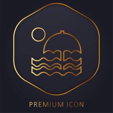 Plaj altın çizgisi logosu veya simgesi
