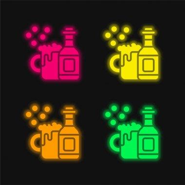 Beer four color glowing neon vector icon stock vector