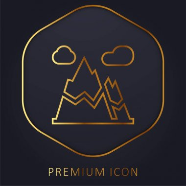 Alps golden line premium logo or icon stock vector