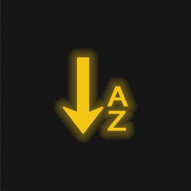 Alphabetical Order yellow glowing neon icon
