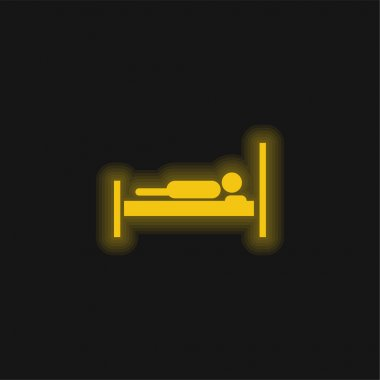 Bed With A Person Lying On It yellow glowing neon icon stock vector