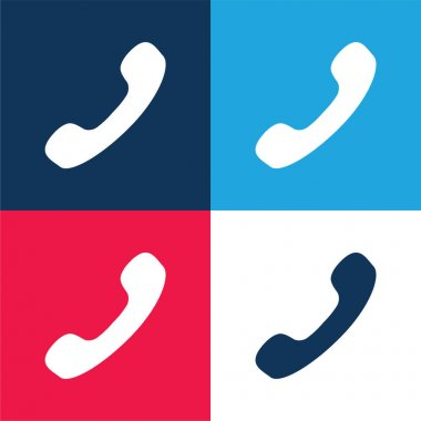 Black Phone Auricular blue and red four color minimal icon set stock vector