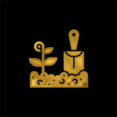 Agriculture gold plated metalic icon or logo vector stock vector