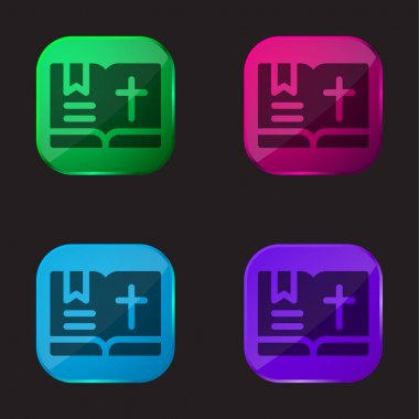 Bible four color glass button icon stock vector