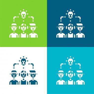 Brainstorm Flat four color minimal icon set stock vector