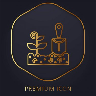 Agriculture golden line premium logo or icon stock vector