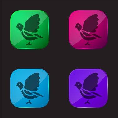 Bird four color glass button icon stock vector