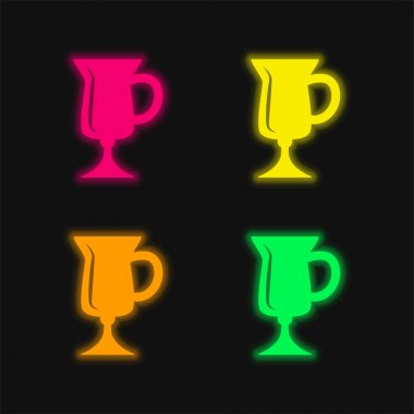 Black Glass To Drink four color glowing neon vector icon stock vector