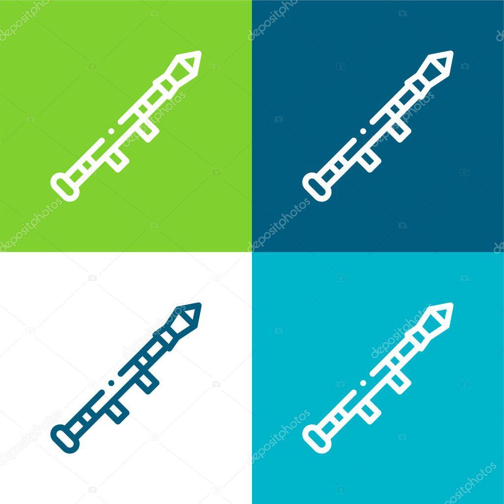 Bazooka Flat four color minimal icon set stock vector