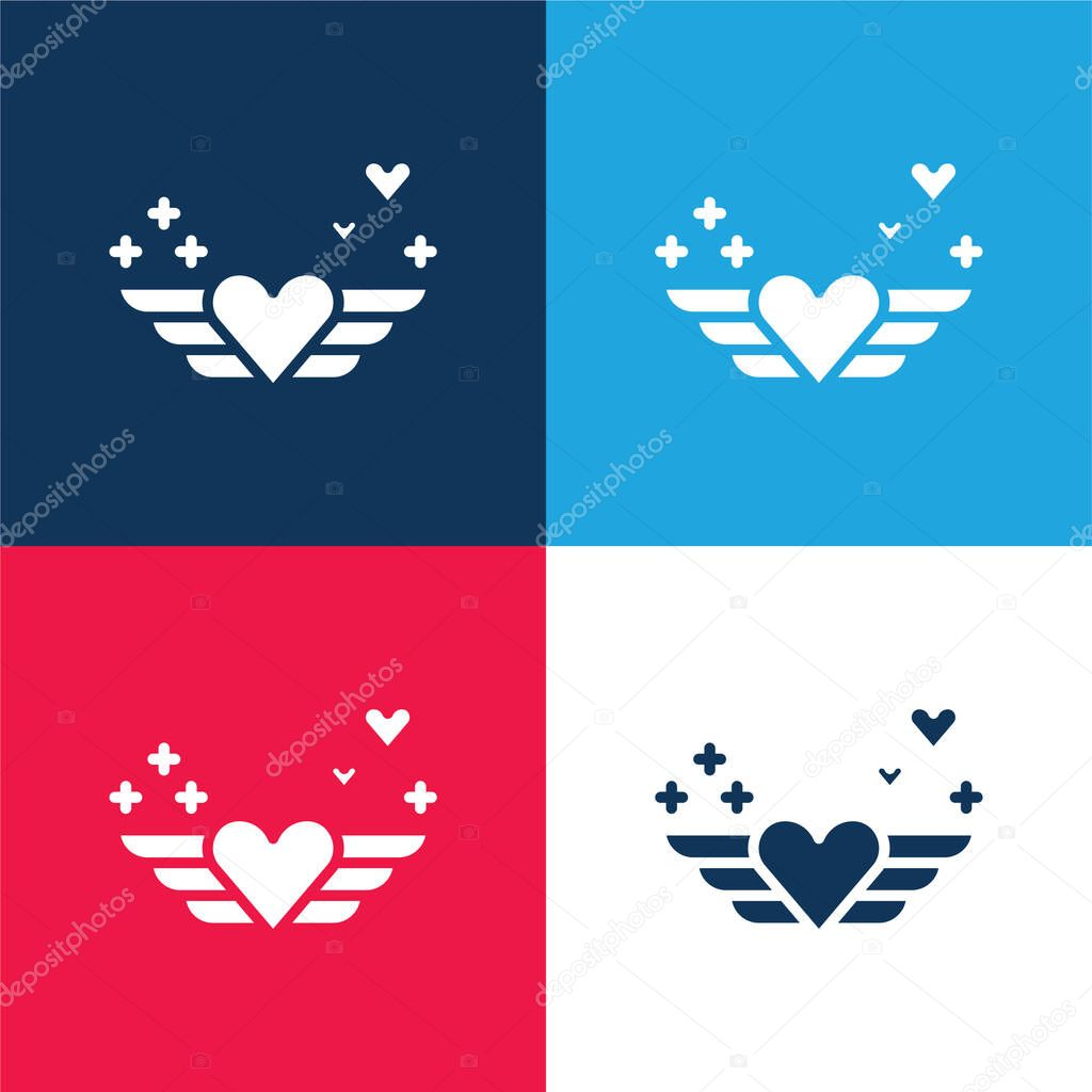 Angel blue and red four color minimal icon set stock vector