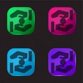 Almosen vier Farben Glas-Taste Symbol