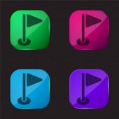 Ptáček čtyři barvy skleněné tlačítko ikona