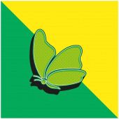 Big Wing Butterfly Zelená a žlutá moderní 3D vektorové logo ikony