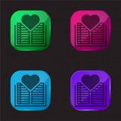 Könyv négy színű üveg gomb ikon