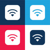 Apple blue and red four color minimal icon set