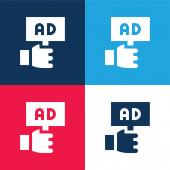 Reklama modré a červené čtyři barvy minimální ikona nastavena