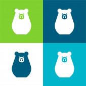 Bearbot Flat four color minimal icon set