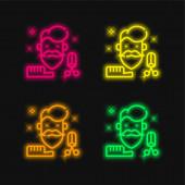 Beard four color glowing neon vector icon