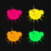 Blowfish four color glowing neon vector icon