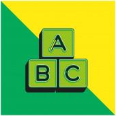 Abeceda Zelená a žlutá moderní 3D vektorové logo ikony