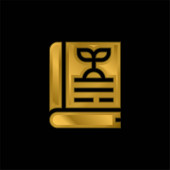 Book gold plated metalic icon or logo vector