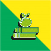 Buch Grünes und gelbes modernes 3D-Vektorsymbol-Logo