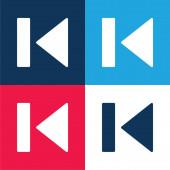 Zadní modrá a červená čtyři barvy minimální ikona nastavena