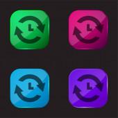 Analyze four color glass button icon