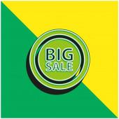 Big Sale jelvény Zöld és sárga modern 3D vektor ikon logó